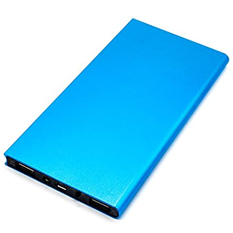 Universal Power Bank Charger,15000mah Double USB with LED Battery Charger,Ultra Slim Fashionable Portable Mobile Phone Charger for iPhone Samsung Galaxy HTC and Most Smart Phones(Blue)