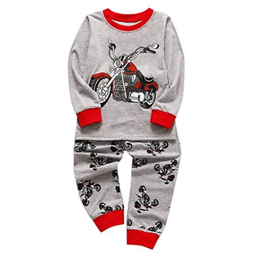 i-uend 2019 Baby 2 PCS Sets - Kinder Kinder Cartoon Motorrad Top Kleidung + Hosen Pyjamas Set Outfit für 1-5 Jahre