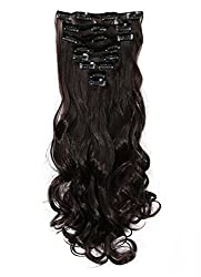 Haironline Fashion 17 Inches Curly Full Head One Piece 8 Pieces Clip in Hair Extensions Hair Care Beauty Sexy Lady - Dark Brown