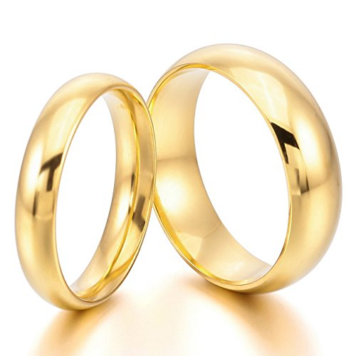 MeMeDIY 4mm 6mm Gold Tone Stainless Steel Band Ring Wedding Love - Customized Engraving
