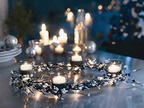 Herstal Lyra Advent Kranz mit 40 Leuchten schwarz/Silber zum Stehen oder Hängen