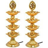 KERWA Premium 4 Layer New Electric Gold LED Bulb Lights Diya/Deep/Deepak For Pooja/Puja/Mandir Diwali Festival Decoration || (Pack Of 2) || S-03