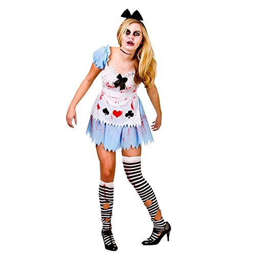 (L) Ladies Alice in Zombieland Halloween Costume for Fairytales Fancy Dress Womens ()