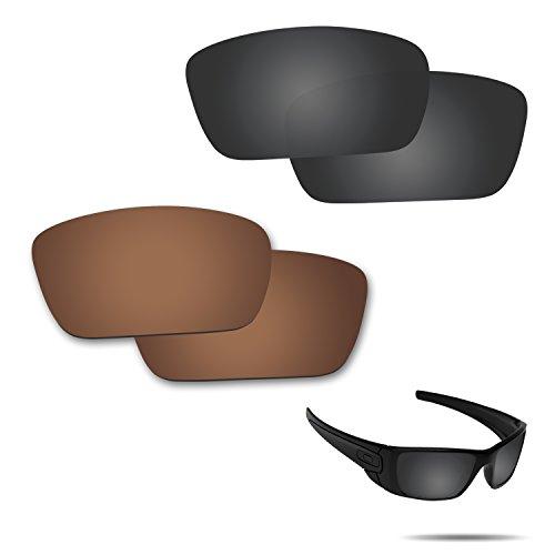 Fiskr Anti-Saltwater Polarisierte Ersatz Gläser für Oakley Fuel Cell Sonnenbrille, 2Paar Verpackt, Stealth Black & Bronze Brown