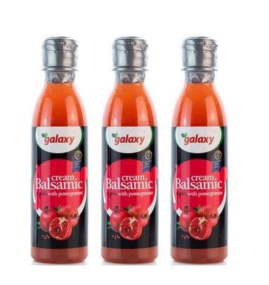 3x 250ml weißer Essig Balsamico Creme mit Granatapfel Galaxy Balsamicocreme Balsamessig dickflüssig Salat-Dressing Deko 3er Set + 10ml Olivenöl von Kreta zum Test