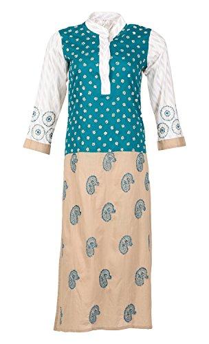 ALMAS Lucknow Chikan Regular Fit Cotton Kurti (Green and Beige, 38)