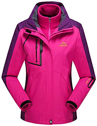 Kapuzen-wintermantel (Rdruko Damen Outdoor 3in1 Wasserdichte Skijacke Fleece Innenjacke Wintermantel Abnehmbare Kapuze, Damen, rosarot, X-Small)
