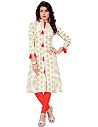 FASHION CARE Present Cotton Kurti For Women's (speciality Printed Long Pattern Knee Length White Color Kurti Length...