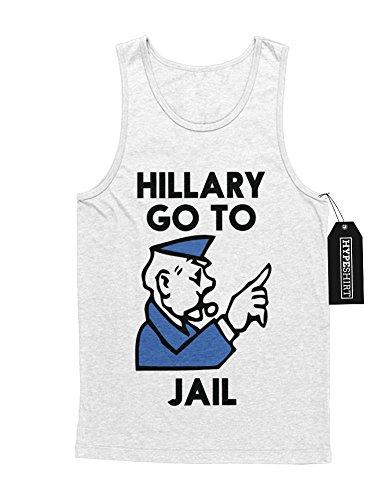 "Tank-Top Donald Trump ""HILLARY GO TO JAIL!"" D123461 Weiß"