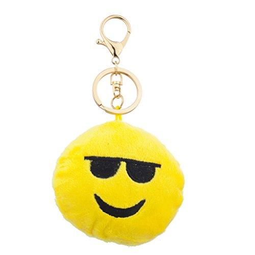 Lux accessori Emoji giallo occhiali da sole tessuto cuscino borsa con catena portachiavi