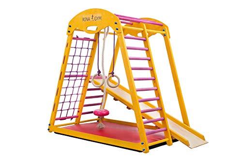 Kinder zu Hause aus Holz Spielplatz RINAGYM Kids holzspielplatz Kinder, Kletterwand, Turnwand, Sprossenwand und Gymnastikmatte als Geschenk