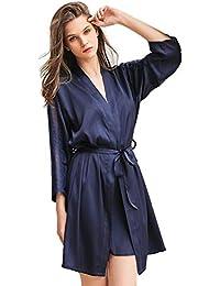 Mini Balabala Kimono Robe Femmes Chemises de Nuit Grue et Fleurs Soyeux Robe Peignoir en Satin de Soie Robe de Nuit de Demoiselle d'honneur Pyjamas