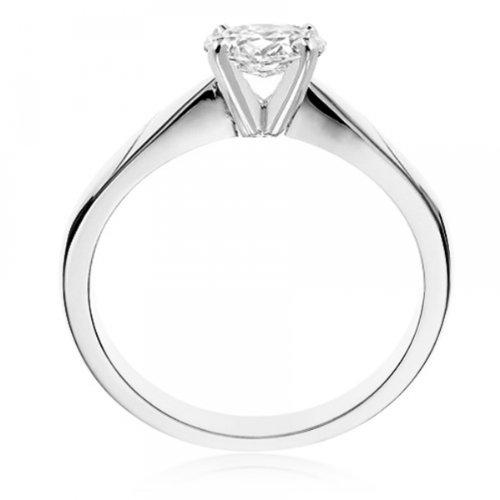 Diamond Manufacturers, Damen, Verlobungsring mit 0.25 Karat F/VS1 feinem und zertifiziertem Ovaldiamant in 18k Weißgold, Gr. 41 - 3