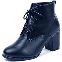 AgeeMi Shoes Donna Punta Tonda Tacco Medio PU Stringate Basse Stivaletti
