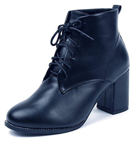 Ageemi shoes donna punta tonda tacco medio pu stringate basse stivaletti,eux27 nero 41