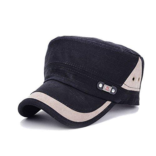 King Star Cadet FLAT TOP Cappelli Esercito Militare Vintage Castro Snapback Caps Black Medium