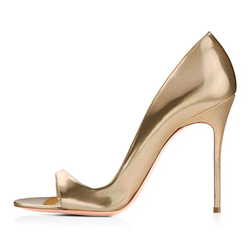 EDEFS - Escarpins Femmes - Peep Toe Sandales - Talon Haut Aiguille - 120mm Stiletto - High Heels Chaussures gold