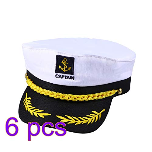 Amosfun 6 STÜCKE Erwachsene Yacht Boot Schiff Sailor Captain Kostüm Hut Kappe Navy Marine Admiral Halloween Kostüme (Halloween-kostüm Schiff Kapitän)