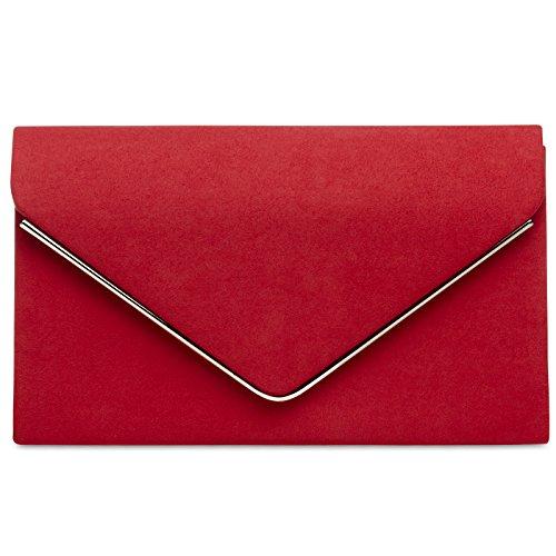 CASPAR TA356 Damen elegante Textil Velours Envelope Clutch Tasche/Abendtasche mit langer Kette, Farbe:rot;Größe:One Size