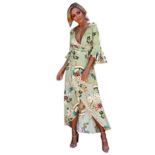 ITISME Damen Vintage Blumen Lose Strand Sommerkleid Boho Abendgesellschaft Lange Maxi Kleid (S, Grün)