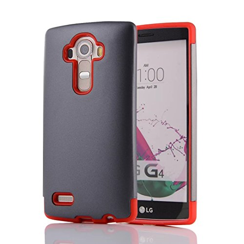 YHUISEN LG G4 Case, 2 In 1 PC + TPU Armor Hybrid Dual Layer Schutz Schock Absorption Hard Back Cover Case für LG G4 ( Color : Rose Gold ) Gray Red