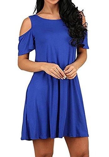 Jc.Kube Damen Mini Sommerkleid Strandkleid Blue