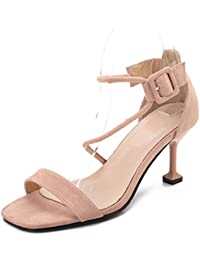 Ruiren Sandalias del Talón del Gatito de Las Mujeres Zapatos Abiertos del  Dedo del Pie del Tobillo de los Altos Talones… 95823834dc06