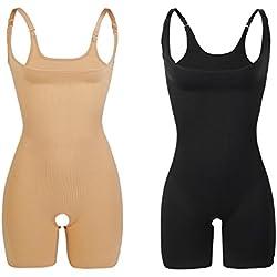 2 Unidades Libella Body Faja Modeladora Reductora faja de mujer que realzan tu figura con efectos vientre plano y con la puntera reforzada 3602 Negro+Beige L/XL