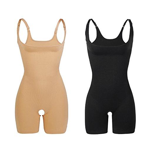 Libella 2 Unidades Body Faja Modeladora Reductora Faja de Mujer Que realzan tu Figura con Efectos Vientre Plano y con la Puntera Reforzada 3602 Negro+Beige M/L
