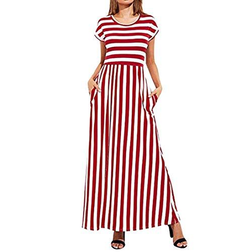 Robe Femmes, Toamen Robe Rayé Manche courte Jupe longue Élastique Taille Décontractée Robe avec des poches (L, Rouge)