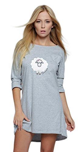 SENSIS modisches Nachthemd (Made in EU) Sleepshirt mit praktischen 3/4-Ärmeln aus Baumwolle, Hellgrau mit Schaf, Gr. L/XL (40/42)
