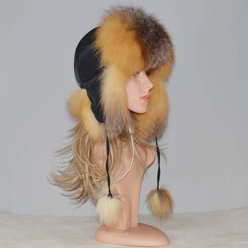 Kaijin cappelli di pelliccia delle donne della russia di nuovo stile inverno cappello 100% naturale reale orecchie di pelliccia di volpe cappelli di bomber caldi caldi di vera pelliccia di volpe