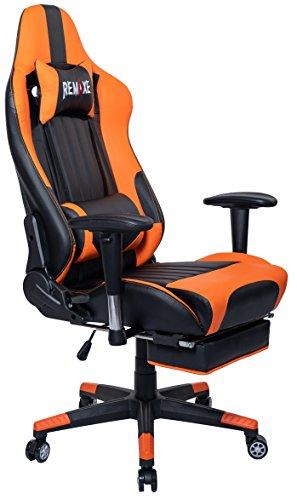 Silla de juego de PC de gran tamaño Ergomonic Racing Chair con reposapiés retráctil, cuero de la PU de Ejecutivo, Reposacabezas de cuero Masajeador lumbar. Silla ergonómica giratoria para PC