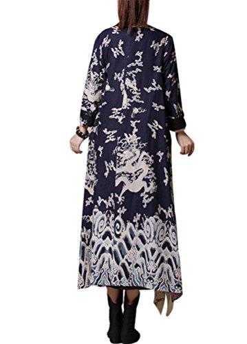 Voguees Damen Drache Muster Druck Robes Kleid Blau-Art 4(Fit EU 38-46)