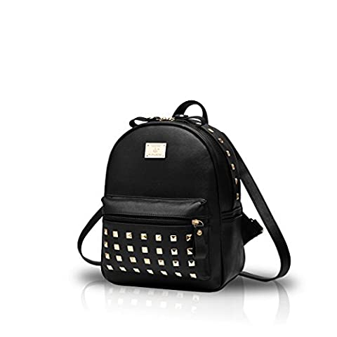 Nicole&Doris New Schoolbags Backpack Women Handbags Travel Bag Satchel Metal Fashion PU Leather (Zaino In Pelle Nera Borse)
