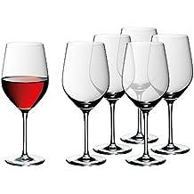 WMF Weinglas Rotweingläser Bordeaux 6er Set easy Plus 24cm 630 ml Rotweinglas Kelch Kristallglas hochwertig edel spülmaschinenfest klar transparent farblos elegant Bordeaux bauchig