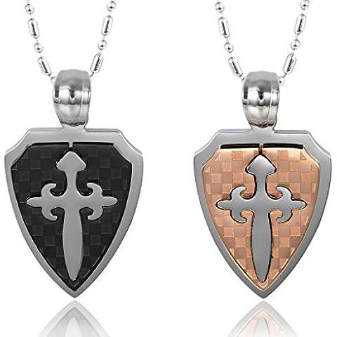 Donna Ciondolo Uomo Collane Acciaio inossidabile Argento geometrica goccia forma di croce Motivo di AieniD