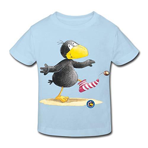 Spreadshirt Der kleine Rabe Socke Kastanie Kinder Bio-T-Shirt, 134/140 (9-10 Jahre), Hellblau - Kastanien-serie