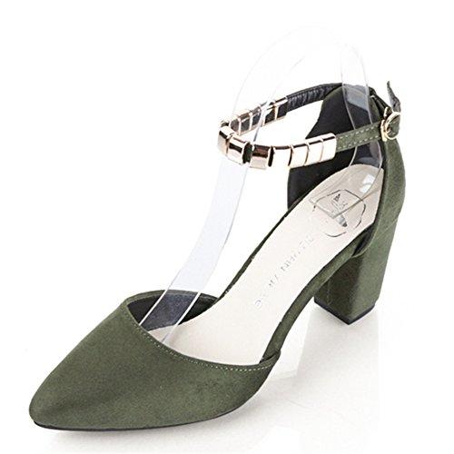 Lady a fait des talons hauts au printemps en Europe et en Amérique/Grossier avec les chaussures en daim mode boucle C