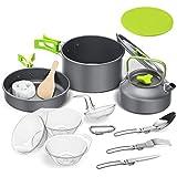 Set Pentole da Campeggio,2-3 Persone Set Stoviglie Campeggio,Portatile Ultraleggero 14-in-1 Kit Camping Cookware con…