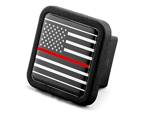 Reflective US USA flag Trailer Hitch Cover Plug Insert (Fits 2 Receivers, Black & White flag with Thin Red line) by eVerHITCH - Hitch Cover Receiver