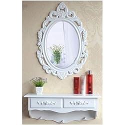 Tocador y espejo de madera vintage estilo shabby chic, cajón de almacenamiento de cosméticos Reino Unido, SZ5CGJMY ®