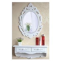 Idea Regalo - SZ5CGJMY®, mobile da toletta con specchio, in legno, stile vintage e shabby chic, tavolo per cosmetici con cassetto