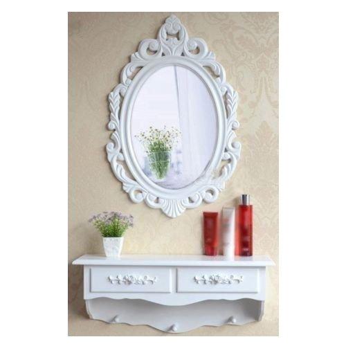 Sz5cgjmy®, mobile da toletta con specchio, in legno, stile vintage e shabby chic, tavolo per cosmetici con cassetto