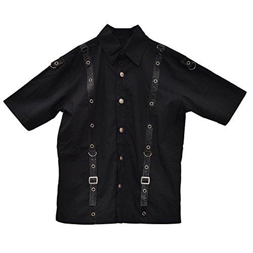 Zoelibat 14009905.008S -Herren Gothic Steampunk Kurzarm Hemd mit Kunstlederbändern und Schnallen - Gr. S,, schwarz