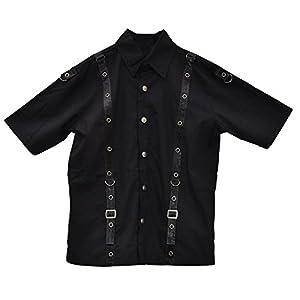 El celibato Camisa 14009905.008S -Men gótica de Steampunk de manga corta con correas de cuero de imitación y hebillas - Gr. S, negro