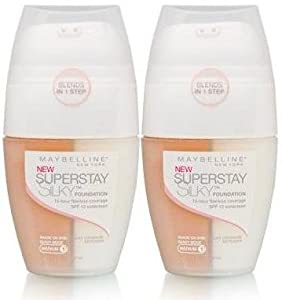 Maybelline SuperStay Silky Foundation SPF 12 MEDIUM 1 BY MAYBELLINE (SHADE ON SKIN SANDY BEIGE) (PACK Of 2)