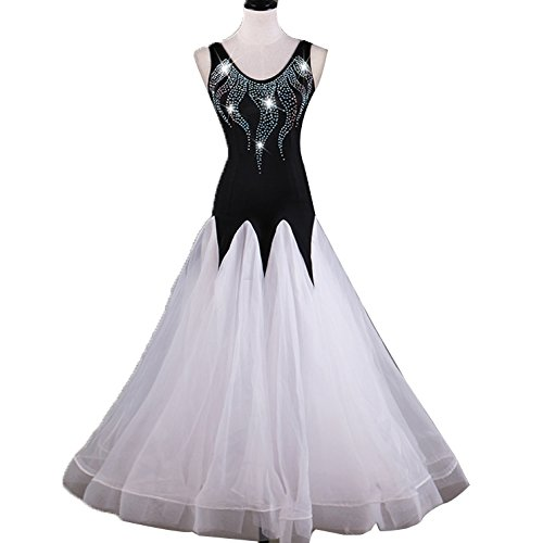 Ärmelloses modernes Tanzkleid für Frauen Performance Wettkampf Kostüme rückenfrei Professionelle Waltz Ballroom Dance Outfit Strass M - Professionelle Jazz Dance Kostüm