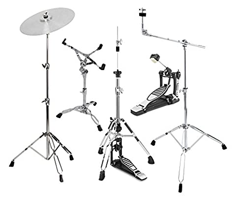 XDrum HP-SSP5 Hardware Pack (5-teilig, Galgenbeckenständer, gerader Beckenständer, Snareständer, Single Fußmaschine, (Cymbal Stand Pack)