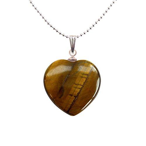 581dbc7326c50 Pendentif minéraux coeur - Oeil de tigre